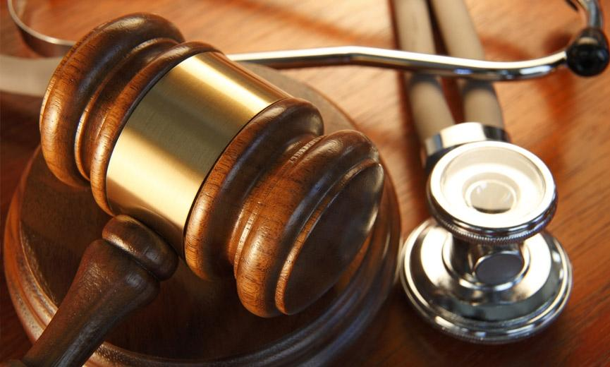 Gavel and stethoscope represents healthcare in the court system