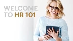 welcome to hr 101 text next to woman with tablet device