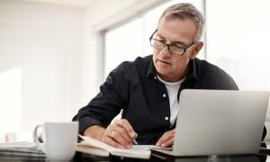 employee reviewing retirement plan