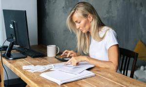 employee reviewing a cash flow statement
