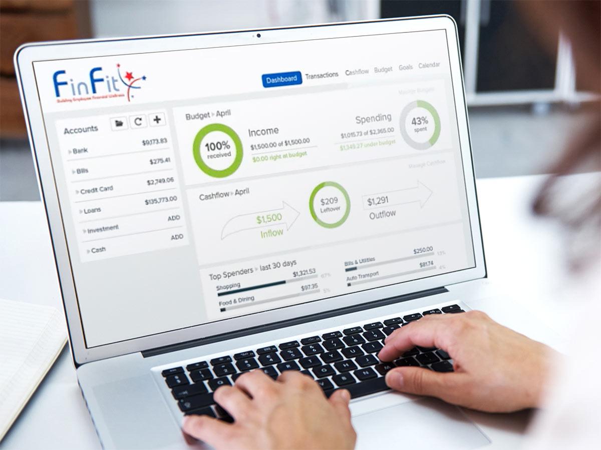 Software de FinFit en una computadora portátil
